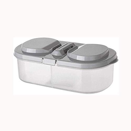 HYLK Caja de Almacenamiento, Caja de Almacenamiento de Alimentos de Cocina de Doble Ranura Contenedor de plástico de conservación del...