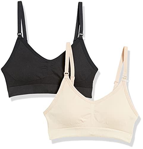 Amazon Brand - Arabella Women's Nursing Seamless Bralette 2 Pack, Jet Black/Shifting Sand, Small