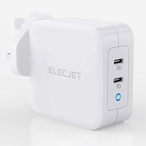 100W PD Charger with GaN Tech, Elecjet 2-Port Wall Charger PD 3.0 USB C Type C Fast Charging Adapter for MacBook Pro Air, iPad, iPhone 11 Pro Max XR XS, Galaxy S20 S10, Nintendo and More