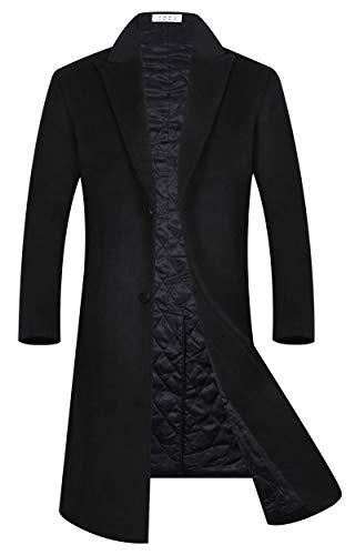 APTRO Men's Wool Blend Trench Coat Knee Length Fleece Lining Top Coat 1817 Black L