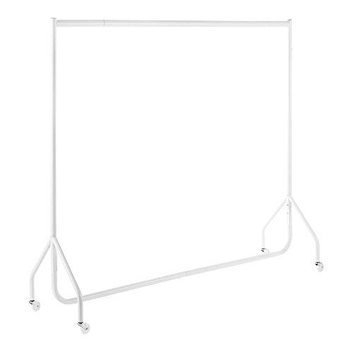 Shopfitting Warehouse Stabiler, Großer Kleiderständer, Garderobenständer – Robuste 183cm Lange Profi-Kleiderstange komplett aus Stahl in Weiß