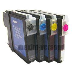 4 Reinigungspatronen Set für Brother LC-980, LC-1100 Black, Cyan, Yellow, Magenta