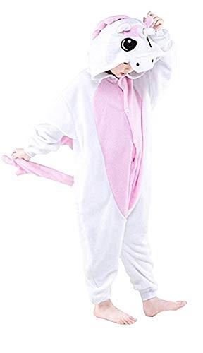 Pigiama unicorno - pigiamone - Bambina - pile - Costume - tutone caldo - Carnevale - Taglia 120 cm - Idea regalo per natale e compleanno