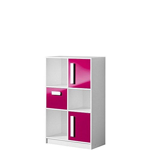 Schrank, Hochschrank, Regal, Kommode GULIVER, Kinderzimmer, Jugendzimmer (weiß / rosa hochglanz)