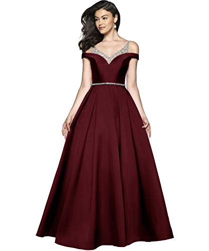 YGSY Women's Cold Satin A-Line Evening Prom Dress Long Party Gown With Bodice 8 Burgundy