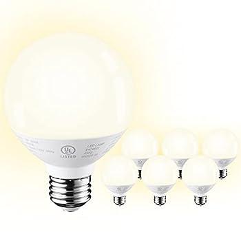 TORCHSTAR G25 LED Globe Light Bulb Dimmable Vanity Light Bulb 6W  40W Eqv  UL-Listed Warm White 3000K 3-Year Warranty Pack of 6