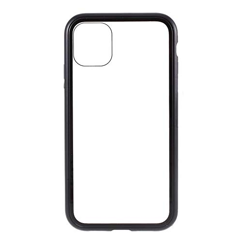 Best Shopper - Magnetic Adsorption Metal Frame Tempered Glass Phone Cover Case for Apple iPhone 11 6.1'' - Black
