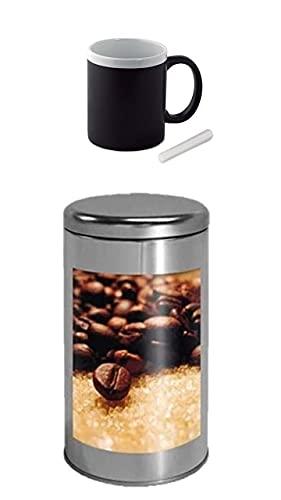 Coffee Bote hermético para café, recipiente para café, lata de acero inoxidable, tamaño A3, para granos de café, 5 + 1 taza de café, se puede escribir con tiza.
