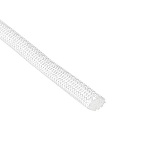 sourcing map Silikon Gummi Glasfaser Isolierung verzögernder Schlauch 5mmx10M RoHS Weiß