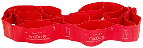 cando® Multi-Grip Exerciser | Fitnessband Trainingsband Multiband | Stärkenauswahl (Leicht = Rot)