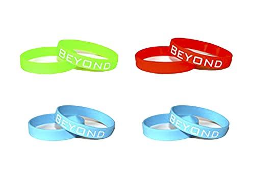 Beyond Dreams - Pulseras de silicona monocromáticas - 4 pulseras de motivación - Fitness - Pulsera de goma para deporte - Recordatorio - Habit Breaker - Wristband Schmuck - Power