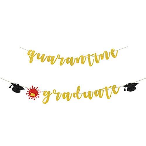 INNORU Quarantine Graduate Banner - Class of 2021 Quarantine Bunting Flag - Viruses Theme College High School University Graduated Party Bunting Decorations Birthday Photo Prop - Gold Glitter