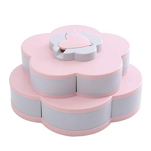 Genießen Sie Life-Bloom Snack Box, Snack Tray blütenförmige rotierende Pralinenschachtel Double (Pink)