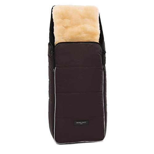Lammfell Kinderwagen-Fußsack CORTINA von WERNER CHRIST BABY – Thermo Winterfußsack mit herausnehmbarem, echtem Fell, als Einlage für Buggy verwendbar (2-in-1) in chocolate (braun)