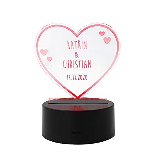 Herz & Heim® Personalisierte LED Herz-Lampe mit Namen zum Valentinstag
