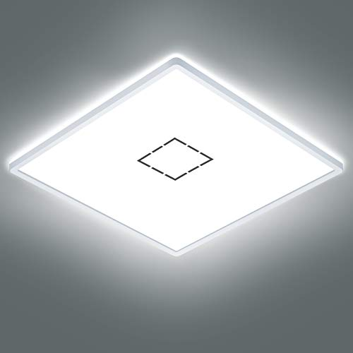 Oraymin Led Deckenleuchte Quadratisch Flach Panel, 22W 2400LM Deckenlampe Bad, 2700K/4000K/6500K IP44 für Badezimmer Wohnzimmer Schlafzimmer Flur, Ultra Dünn 2.85cm mit Speicherfunktion, 42x42cm