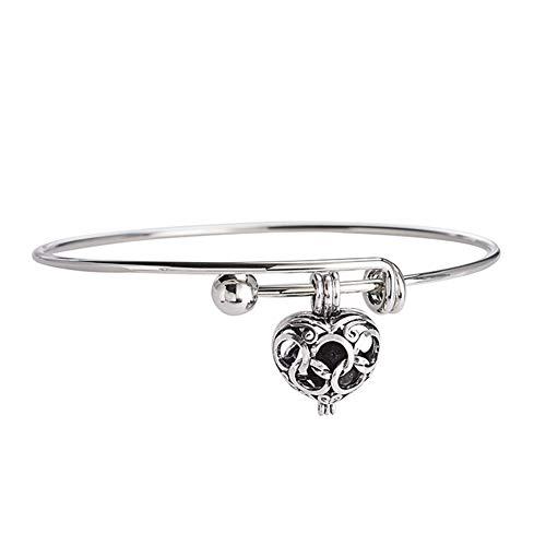 AdorabFruit Gift Pendant 1Pc 8mm Lava Stone Diffuser Hollow Locket Necklaces Bracelets Bangles For Essential Oil Necklace Gift (Metal Color : Q)