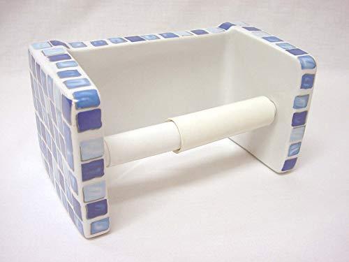PORTAROLLOS Porta Rollo BAÑO Papel HIGIENICO Pared Cubo Porcelana Mosaico Azul