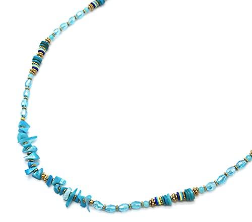 Oh My Shop CL2444 - Collar largo con perlas turquesas con conchas y piedras azules