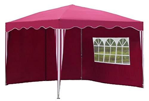 Kronenburg Faltpavillon WASSERDICHT Dachmaß 3 x 3 m UV Schutz 50+ Pavillon in Rot mit 2 Seitenteilen