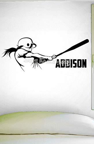 personalisierte Mädchen Softball Teig Wandtattoo benutzerdefinierten Namen Hitter Aufkleber Home Interior Wall Art Murals Design Tapete 32x71cm