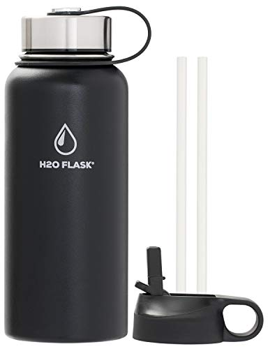 SilverOnyx H2O Flask Insulated Water Bottle, Stainless Steel Wide Mouth Double Wall 32oz & 40oz Hydro Jug, Leak-Proof w/ 2 Lids & 2 Straws, Vacuum Insulated Keeps Drinks Hot, Cold - Black 32oz