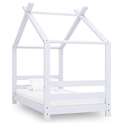 vidaXL Madera Maciza de Pino Estructura de Cama Infantil para Niños Pequeños Forma de Casita Casa Dormitorio Robusta Duradera Blanco 70x140 cm