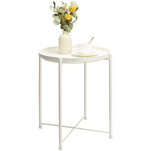 danpinera End Table, Side Table Metal Waterproof Small Circular Bedside Table with Round Removable Tray for Living Room Bedroom Bathroom Balcony and Office (Milky White)
