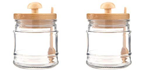 Glass Jar with Wooden Spoon & Birch Lid. Fill elegant design glass jars to the brim with decor, treats, and other fun fillers (2)