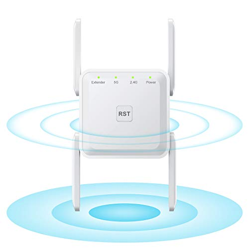 WLAN Verstärker WLAN Repeater AC1200 WiFi Repeater für Steckdose, 867MBit/s 5GHz + 300MBit/s 2,4GHz, mit Repeater Modus/Access Point/LAN-Port Funktion, C-Weiß