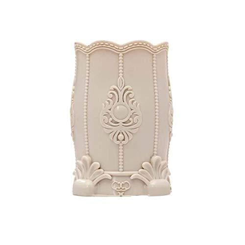 XYZMDJ Porte-Stylo en Plastique, Marque de Femmes Pinceau Holder cosmétiques Boîte de Rangement Pen Organisateur Case Flower Container (Color : Brown)