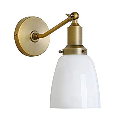 "Permo Industrial Vintage Slope Pole Wall Mount Single Sconce with 5.5"" Oval Dome Milk White Glass Shade Wall Sconce Light Lamp Fixture"