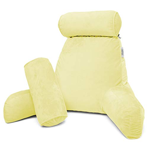 Nestl Reading Pillow, Includes 1 Extra Large Bed Rest Pillow with Arms and Pockets + 2 Detachable...