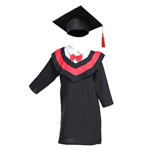 Amosfun Toga - Sombrero de graduación y toque para graduación de niños y estudiantes, línea roja