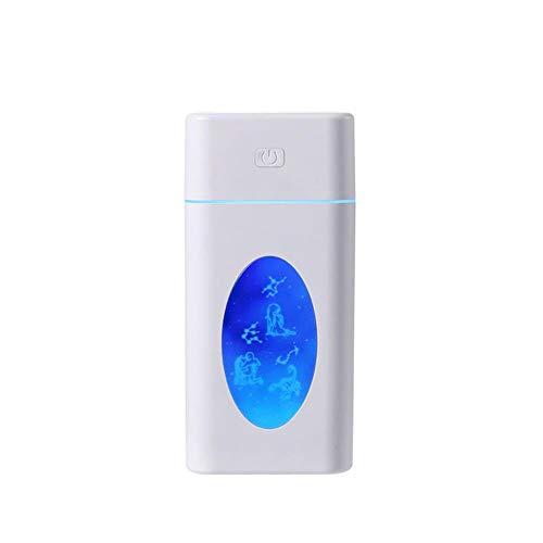 PXN 260ml Humidificador de reemplazo de luz Nocturna de 7 Colores Aire Ultrasónico Creativo USB Constelación Aromaterapia Difusor Atomizador Coche Familiar, Blanco, EE. UU.