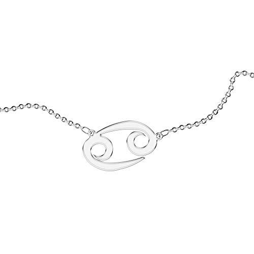 Collar Personalizado, para Mujer, con Signo del Zodíaco. Use su signo del zodíaco. Con grabado. Acero inoxidable e hipoalergénico. Color plata. Diseñado en Italia. (Cáncer)