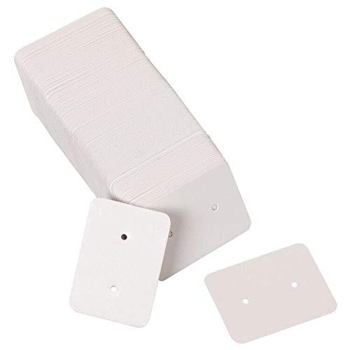 200 Tarjetas de Exhibición de Pendientes,Etiquetas de Papel Kraft Vacías para Pendientes y Aretes de Bricolaje 2.5x3.5cm Blanco