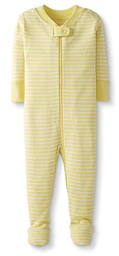 Moon and Back by Hanna Andersson Pyjama en coton bio avec pieds, pour tout-petits, bébés, Yellow Stripe, 3 ans (87-97 CM)
