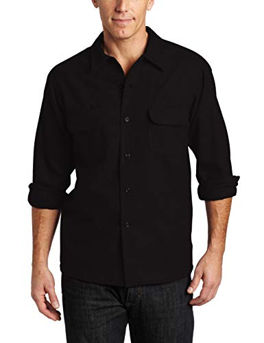 Pendleton Herren Long Sleeve Classic-fit Board Shirt Button Down Hemd, Schwarzer Flanell, Groß