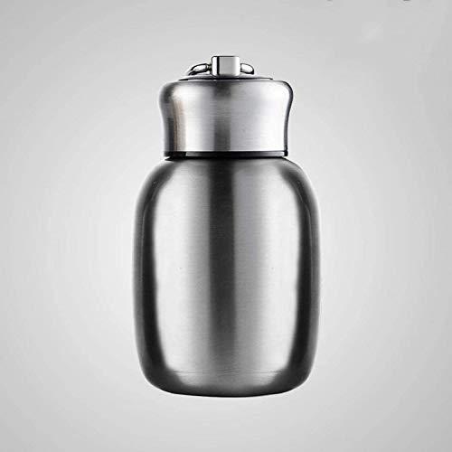 280ML / 9.85Oz Botella de Agua Caliente Pequeño Mini vacío Acero Inoxidable Portátil a Prueba de Fugas Botella Termo para niños Señoras Niños Almuerzo Escuela Oficina Café Leche Té,Natural