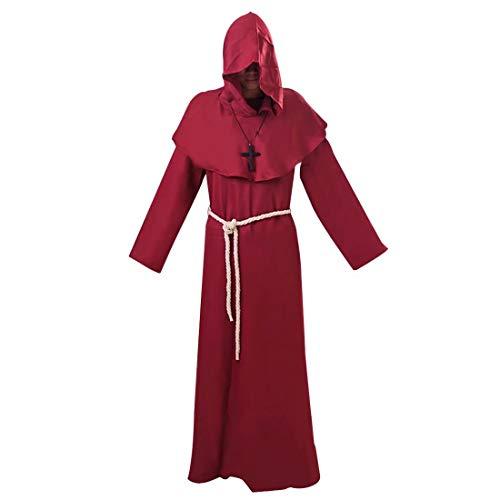 Hpparty Unisex Middeleeuwse Hooded Robe, Steampunk Halloween Cosplay Kostuum Renaissance Friar Koe Monnik Priester Retro Vintage Mantel