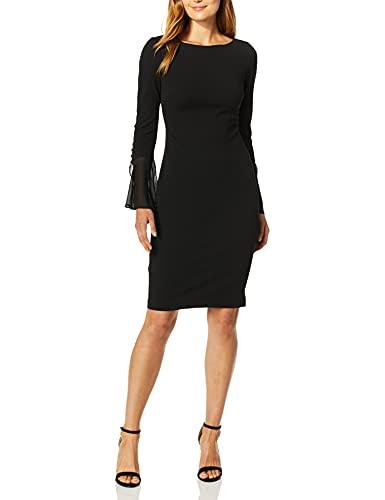 Calvin Klein Women's Solid Sheath with Chiffon Bell Sleeves Dress, Black 2, 8