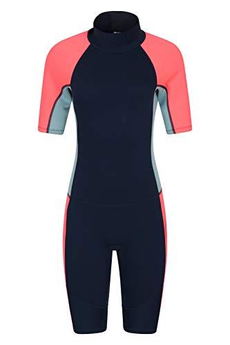Mountain Warehouse Traje de Neopreno para Mujer Shorty - De baño, de Surf, con Cremallera Easy Glide, Tirador extendido, Costuras Planas - Ideal para Buceo, natación Azul Claro 32-34