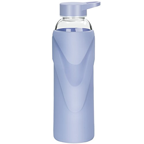 Justfwater Deporte Botella de Agua de Cristal con Funda de Silicona 420 ML