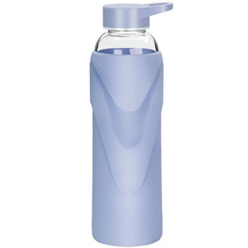 Justfwater Sports Trinkflasche Glas Wasserflasche mit Silikonhülle 1000 ml