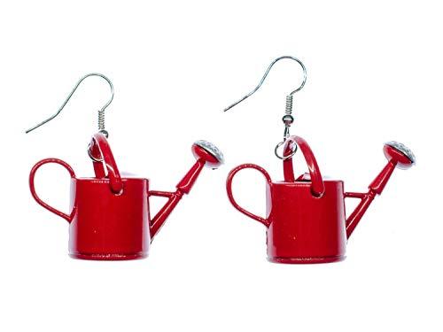 Miniblings riego pendientes olla verter un huerto del resorte Jardín metal rojo - joyería hecha a mano de plata de la manera Pendientes plateado I