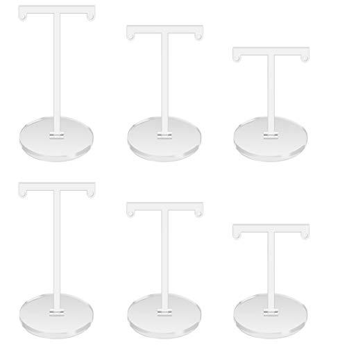 Yangfei 6pcs Organizador de Pendientes Soporte de Joyería Expositores para Pendientes Soportes de Exhibición de Aretes Soporte en Forma de T de Acrílico para Pendientes y Aretes (Blanco)