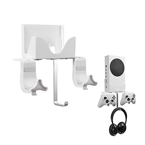 Soporte Pared para Xbox Series S, Hosanwell Montaje Pared para Consola, Controlador y Auriculares, Soporte Sólido con Tornillos, Orificio de Ventilación y Nivel Espiritual para una Fácil Instalación