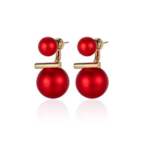 Pendientes de perlas rojas, nobles y elegantes, simples pendientes de plata pura femeninos, 2021, nueva moda, exquisitos pendientes brillantes que muestran una cara pequeña
