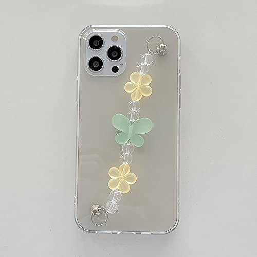 LIUYAWEI Estuche con Cadena de muñeca para iPhone 12 Pro 7 8 Plus SE XR XS MAX Estuches Transparentes Estuche Colgante con Cadena de Perlas y Mariposa Linda para iPhone 11, A, para 7Plus 8plus